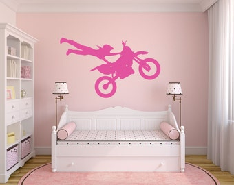Girl Motocross Wall Decal, Dirt Bike Wall Decal, Motocross, Dirt Bike Decor, Motocross Decor, Dirtbike Decal, Motocross Only - WD0006