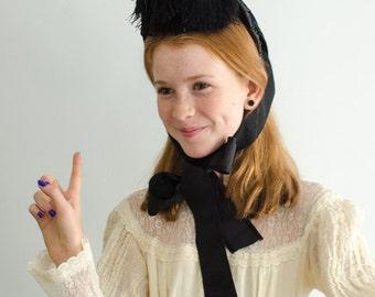 Antique Victorian Velvet Ostrich Feather Bonnet Hat with Ribbons