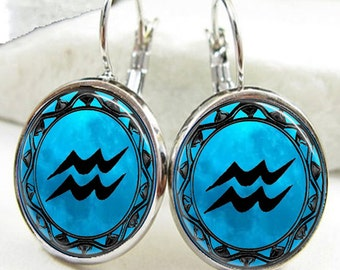 Aquarius Symbol Zodiac Earrings, Aquarius Horoscope Earrings (ER0463)