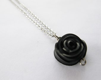 Black Rose Necklace - Recycled Jewelry - Handmade Jewelry - innertube - bike - bicycle