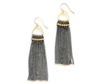 Ox Chain Tassel Earrings