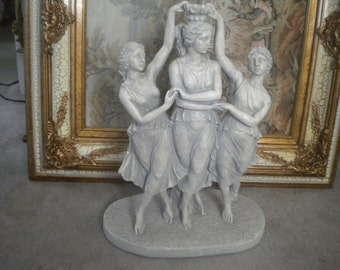 SALE.......Large Three Graces Statue, Mythology Respecting charm, Beauty and Creativity,  Eclectic, French,Victorian,Baroque