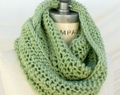 Hand Knit knitted Scarf, Green infinity cowl Scarf crochet, neck warmer wrap,  womens gift for Women, Top  selling sellers   -By PIYOYO