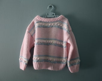 Vintage handknit pink popcorn sweater / pretty in pink striped pullover sweater / knit  jumper / toddler girl size 2T to 4T