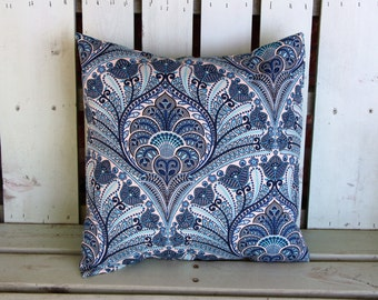16x16 navy blue aqua ivory turquoise  outdoor/indoor fabric Tommy Bahama print, decorative pillow cover-gifts under 40-throw pillow