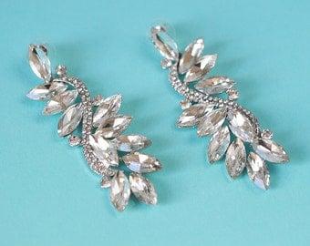 Leaf Crystal Earring, Swarovski Crystal  Wedding Earring, Crystal Rhinestone Wedding Earring, Crystal Bridal Earring, Bridal Jewelry Earring