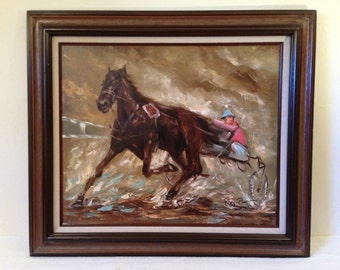 LARGE Vintage Oil Painting Signed ROY PIERCE Harness Racing Trotter Horse & Driver
