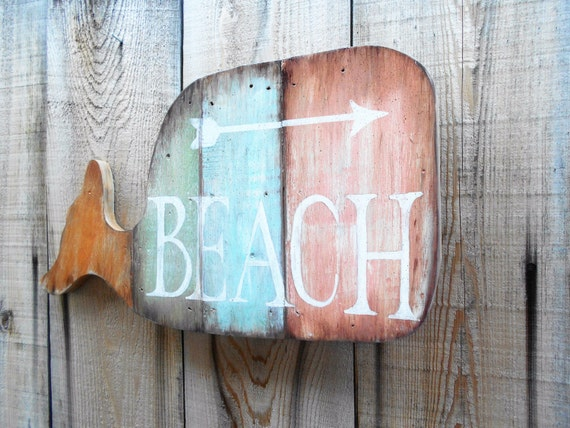 Wooden Beach Wall Decor : Rustic wood whale beach home decor wall hanging plank