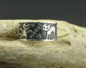 RESERVED FOR TINA - Custom made Cat Gang Sterling Silver ring - Ooak
