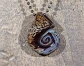 Brown Fritted Ammonite Borosilicate Pendant