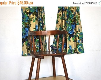 ON SALE Mid-Century Curtains | Vintage Cafe Curtains | Blue and Green Floral