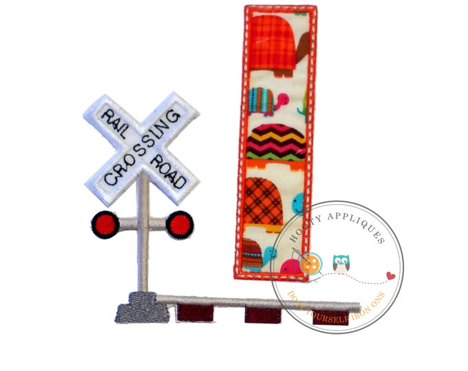 Railroad crossing birthday number one iron on applique-First birthday fabric machine embroidered fabric patch-DIY boutique fashions