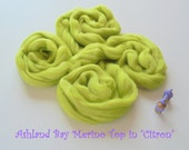 Dyed Merino Top from Ashland Bay - 2 oz of 21.5 Micron Combed Top for Spinning or Felting in Citron - Bright Lime Merino Top/Merino Roving