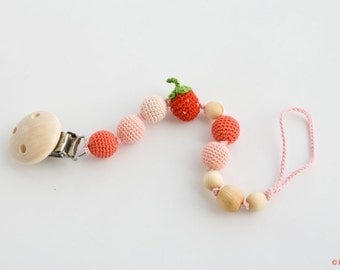 Strawberry Pacifier Clip - Dummy Chain - Baby Girl - For Little Princess