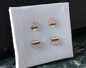 Porcelain drop or square stud earrings- choose- purple, 24k gold luster post earrings, minimalist studs, gift for her, porcelain earrings