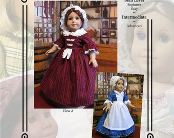 "PDF Pattern KDD20 ""Colonial Day Dress""- An Original KeepersDollyDuds Design,18"" Doll Clothes Fits American Girl"