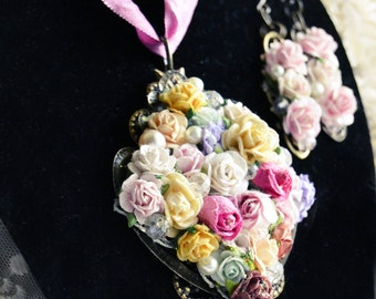 Shabby Chic Rose Pendant Necklace and Earring Jewelry Set - Mulberry Paper Rose - Bouquet Jewelry - Wedding Jewelry - Bridesmaid Gift