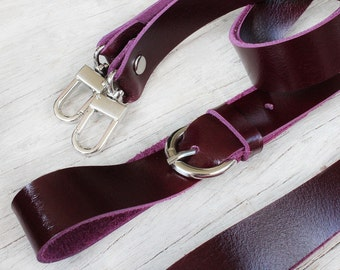 Shoulder strap/ wristlet strap/purple genuine cow leather