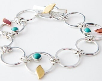 Mixed metal jewelry turquoise bracelet bird bracelet