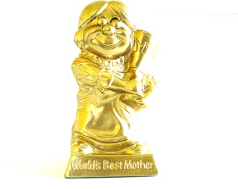 kitschy figurine, worlds best mom, mothers day, gift for moms, metallic gold, upcycled statue