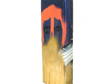 art on wood block, mixed media, graffiti, spray paint, midnight blue, illustration, street art urban