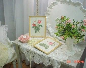 Rose Prints Vintage Framed Romantic Cottage Farmhouse Shabby Chic