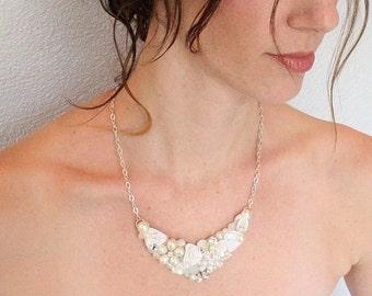Petite Bridal Statement Necklace- Vintage-Inspired Wedding Jewelry- Pearl Statement Necklace- Bridal Bib Necklace- Ivory Necklace- Ivory Bib