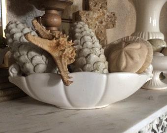 Vintage Oblong White Matte Vase
