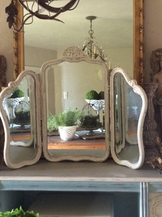Antique Trifold Mirror Wood Tri Fold Vanity Mirror
