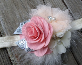 Pink and Peach with accents of Silver Glitter on an Off-White Headband