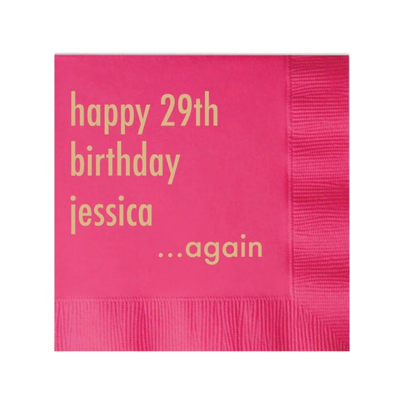Happy 29th Birthday Again Personalized 30th Birthday Napkins