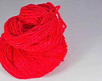 Cherry red Silky soft  Optim merino huge skein super bulky  hand  spun yarn. Luxurious  super bulky 2 ply. Pure Australian merino wool.