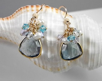 Quartz Crystal Earrings, Wedding Earrings, Blue Quartz, Crystal Dangle Earrings, Swarovski Crystal Earrings, Pearl Swarovski Earrings