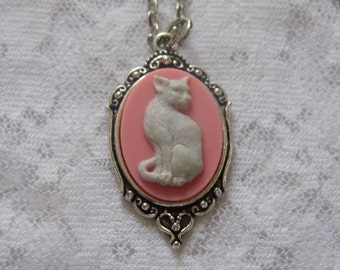 Pink Morbid Cat Kitty Necklace Pendant Gothic Steampunk Feline Cameo ART