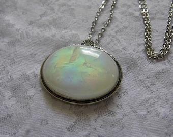 Opal Rainbow Necklace Brooch Combo Victorian Edwardian ART DECO Silver