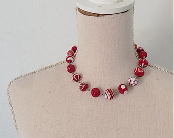 red and white handblown by me lampwork glass necklace