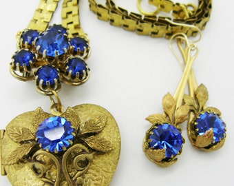 Gorgeous Regal Handcrafted Necklace and Earrings made from all vintage components.  Weiss pin, heart locket, blue rhinestones. Assemblage.
