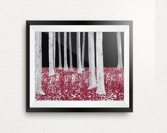 The Red Forrest digital illustration print
