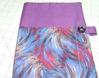Protective padded Bible case, cover, tote, purse, holder, fabric, cloth, washable, reusable, eco-friendly, monet, purple blue red swirls