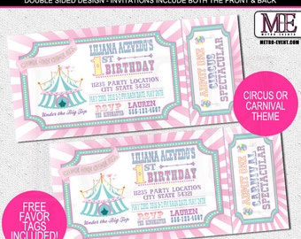 Pretty Pastels, Circus or Carnival Birthday Invitaitons