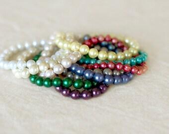 Pearl Bracelet, Bridesmaid Pearl Bracelet, Wedding Gift Jewelry, Single Strand Pearls, Bridal Jewelry, Bridesmaid Jewelry, Bridal Party Gift