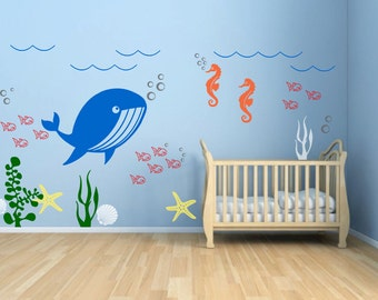 Underwater Theme Vinyl Decal, Kids Room, Nursery, Play Room Vinyl Wall Sticker, Seaweed Fish Sea Star Seashell Whale And Seahorse - ID271