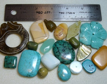SALE - Destash - Semi-Precious Stones - large/focal beads - turquoise, olive greens, browns - variety - SP797