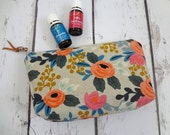 New Essential Oil bag, travel case, zipper bag, Les Fleurs Canvas, Rifle Paper Co. (Holds 12-14)