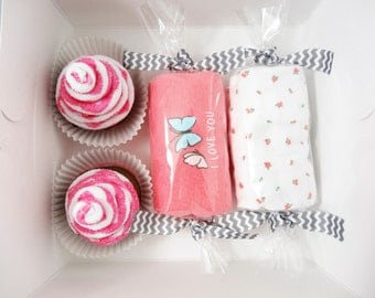 Butterfly Baby Shower Gift Set Washcloth Cupcake Gift Box butterfly - 3 month