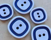 vintage eco friendly blue and white square sewing buttons--two sizes--lot of 5