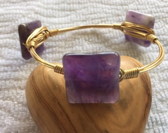 Bourbon & Bowties LIKE Amethyst Gemstone Bangle Bracelet, Gifts for Her, Bridesmaid Gifts, Wire Wrapped Bracelet, Gifts for Mom, Mother