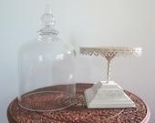 Lovely Glass Cloche on Off-White Pedestal