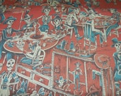 Deadwood Saloon - Red background - Nicole's Prints Alexander Henry Fabric 1 Yard