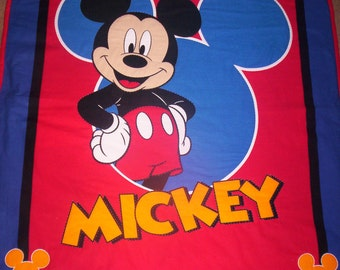 Hand Quilted Mickey Mouse Quilt or Wall Hanging